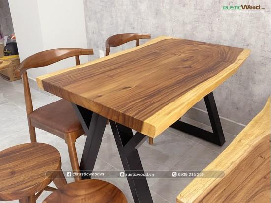 Bộ bàn ăn gỗ me tây ghế bull + bằng ghế dài 120cm