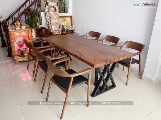 Bộ bàn ăn gỗ me tây nguyên tấm 200x85cm + 6 ghế