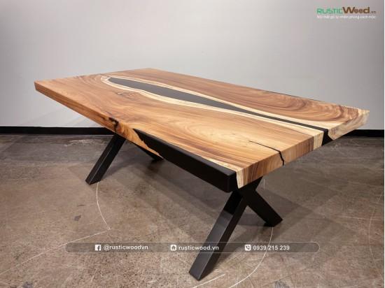 Bàn epoxy gỗ me tây đỗ keo đen 180x80cm