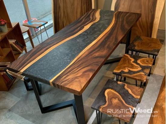 Bàn gỗ me tây epoxy 140x80cm