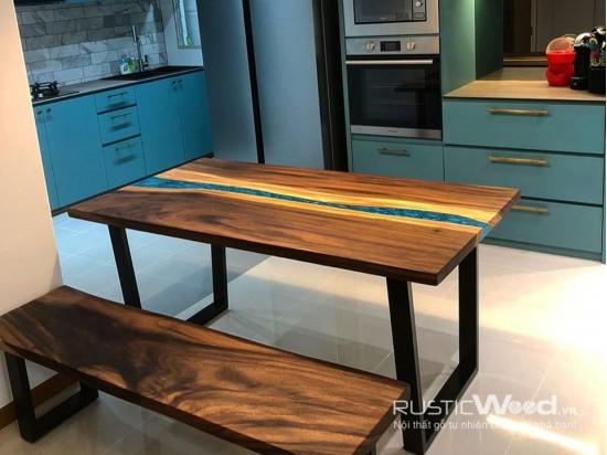 Bàn gỗ me tây epoxy 160x80cm
