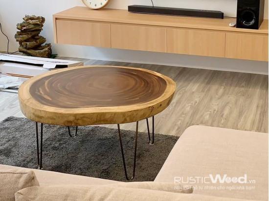 Bàn sofa gỗ me tây 80x80x7cm