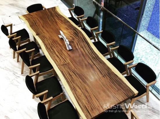Bàn ăn biệt thự gỗ tự nhiên 380x100x7cm