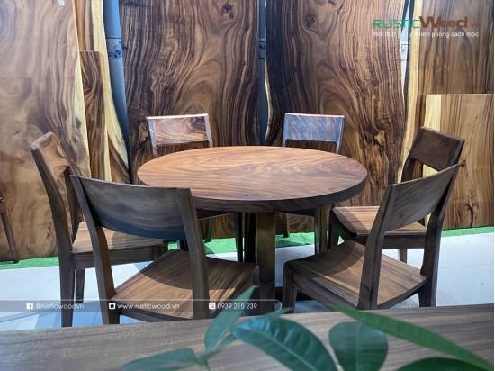Bộ bàn tròn gỗ me tây nguyên khối + 6 ghế