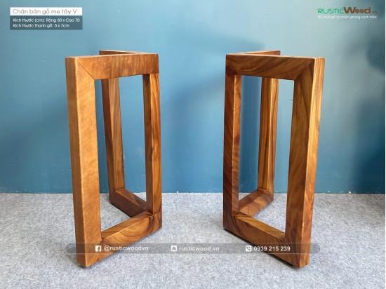 Chân bàn gỗ me tây hình chữ V