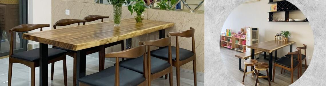 Mẫu bàn ăn gỗ tự nhiên đẹp năm 2021